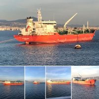MT RN MURMANSK Blt 2007, Loa 172.07M, Dwt 30720 discharging Gas Oil at the port of ThessalonikiGreece. On behalf of Motor Oil Hellas S.A., a leader in the petroleum refining business. March 2019.